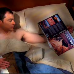 Sheldon realizes that he slept with a geology book.