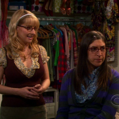 Amy suggesting Penny perform a good deed to get rid of her guilt while Bernadette explains what Amy says in simpler words that Penny can fathom.