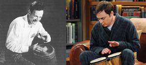 Feynman and Sheldon playing the bongos