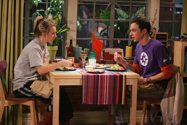 File:The Spaghetti Catalyst - Sheldon and Penny having dinner.jpg