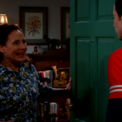 Mary Cooper is very happy to see her son.