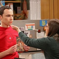 Amy's comment drops Sheldon's jaw, so Amy closes his mouth.