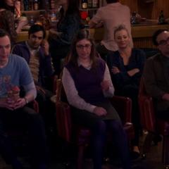The five gang members watch Howard sing to Bernadette.