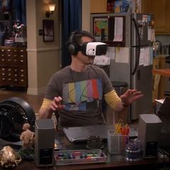 Sheldon walking through a virtual woods.