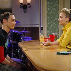 Sheldon seeking advice from his local barkeep, Penny.