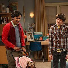 Watching Raj's dog.