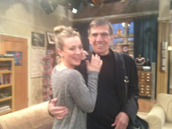 File:Kaley Cuoco with leonard Nimoy (Behind The Scenes).jpg
