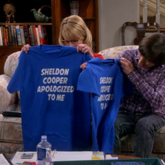 T-shirts from Sheldon's Apology Tour.