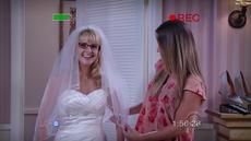 Bernadette trying on wedding dresses