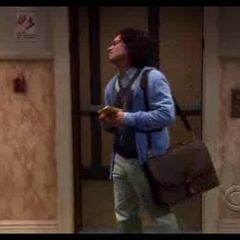 Leonard walking out of the elevator