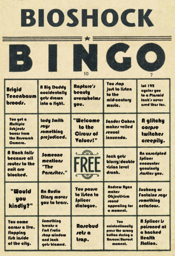 BioShock Bingo Card 1