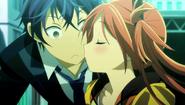Enju steals a kiss from Rentaro
