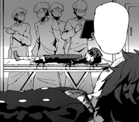 Rentaro looks at his wounded body
