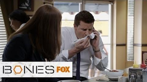 "Booth Nearly Loses His Lunch from ""The Mystery In The Meat"" BONES FOX BROADCASTING-0"