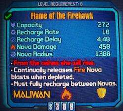 Maliwan Flame of the Firehawk Shield