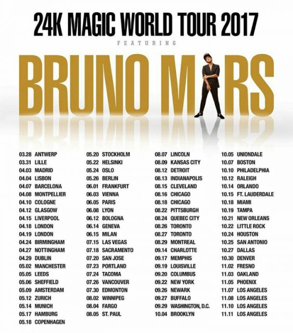 24K Magic World Tour | Bruno Mars Wiki | FANDOM powered by ...
