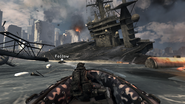 Boat chase and destroyed carrier Hunter Killer MW3
