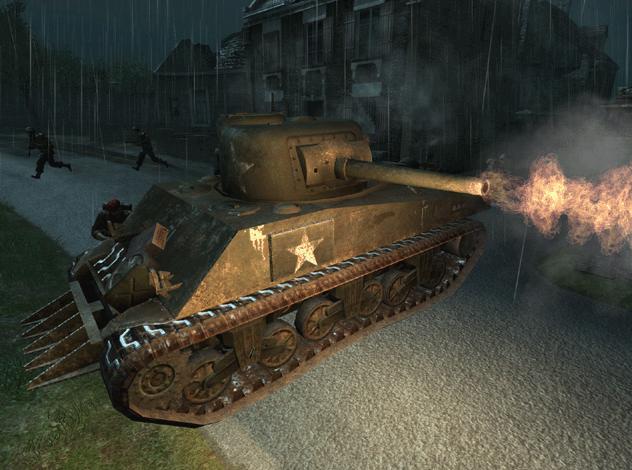 File:M4 Sherman hedgecutter CoD2.jpg