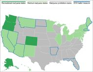 2016 marijuana map of USA before election