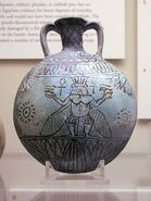 Faience vessel with Bes