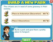 Build a new park goals