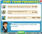 Fuel town finances tasks