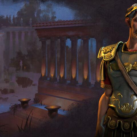 Trajan standing in his Leader Screen.