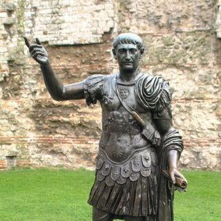 A statue of Trajan (which appears to be the basis for his in-game model)