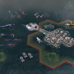 A floating settlement featuring new alien units.