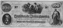 Confederate currency $100 John Calhoun