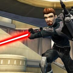 Malek practicing with his darksaber and his new Crimson Prowler blade, which he took from Darth Xhaltan, shortly before killing him.