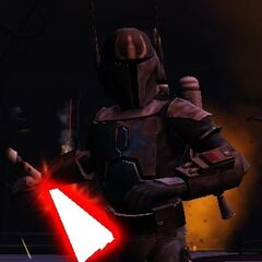 Malek in the Sith Academy Temple of Umbara draws his blade.