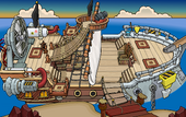 Rockhopper's Quest Migrator docked at Dinosaur Island