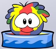 Yellow puffle bathing