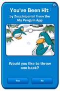 My Penguin App snowball hit message