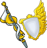 Gold Staff and Shield icon