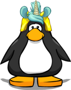 Unicorn Puffle Cap on a Player Card