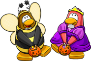 Trick or Treat postcard penguins