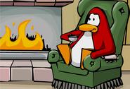 Penguin inside Ski Lodge