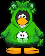 Green Raccoon Hoodie on a Player Card