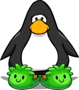 Green Puffle Slippers on a Player Card