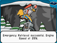 Jet-bot rescuing snow-bot