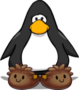 Brown Puffle Slippers on a Player Card