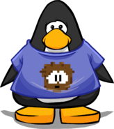 Brown Pixel Puffle Tee on a Player Card