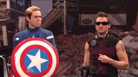 Jeremy Renner as HAWKEYE The Avengers Saturday Night Live Skit part 8 9