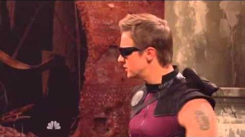 Jeremy Renner as HAWKEYE The Avengers Saturday Night Live Skit part 5 9