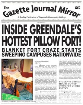 Gazette Journal Mirror Blanket fort headline