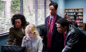 BLU Britta the computer tech, Shirley the Sargeant, Troy and Abed the Detectives