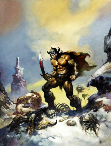 File:-10 abril 1976. Conan el Conquistador. Guión de Roy Thomas, lápices de John Buscema, tintas por la tribu (Tony DeZuniga y otros).jpg