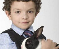 Simon Barlow and Leanne the Rabbit